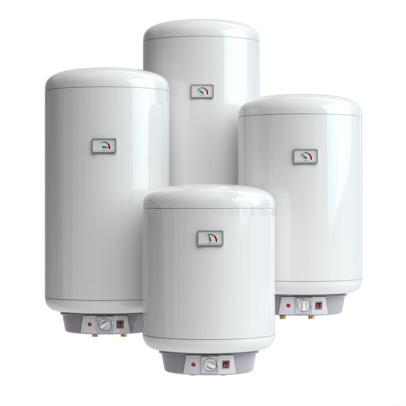 Caldeiras elétricas, aquecedor de água isolado no fundo branco ilustração stock
