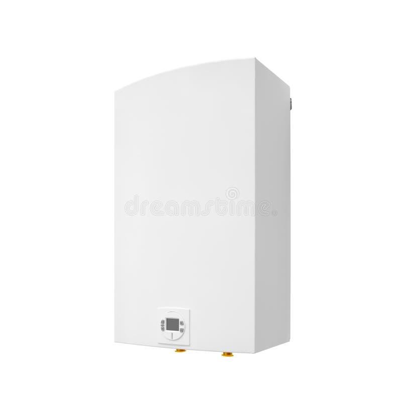 Caldera automática del calentador de agua del gas moderno aislada en un fondo blanco imagenes de archivo