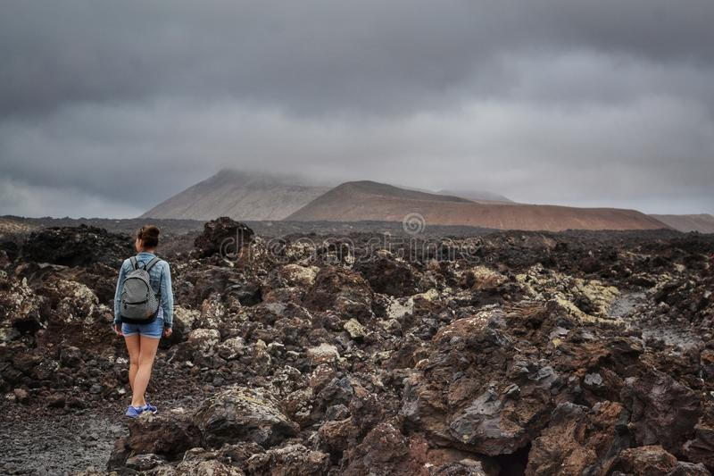 Caldera Blanca. On the road to the Caldera Blanca, Lanzarote, Spain royalty free stock images