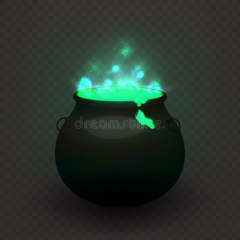 Caldera común de las brujas del ejemplo del vector aislada en un fondo transparente Poción elaborada cerveza, decocción EPS10 flú libre illustration