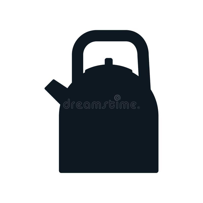 Caldera de acero con la manija Icono de la silueta del elemento de la cocina libre illustration