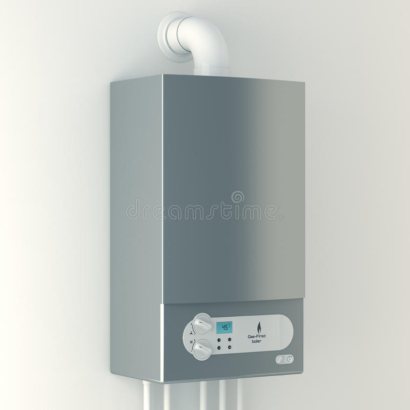 Caldera de gas casera. La instalación del equipo del gas. stock de ilustración