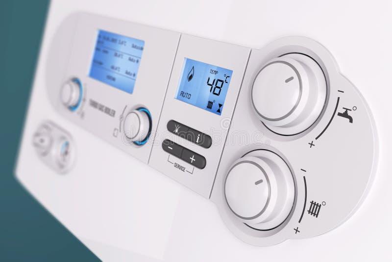 Caldera de gas elegante del hogar del panel de control  stock de ilustración