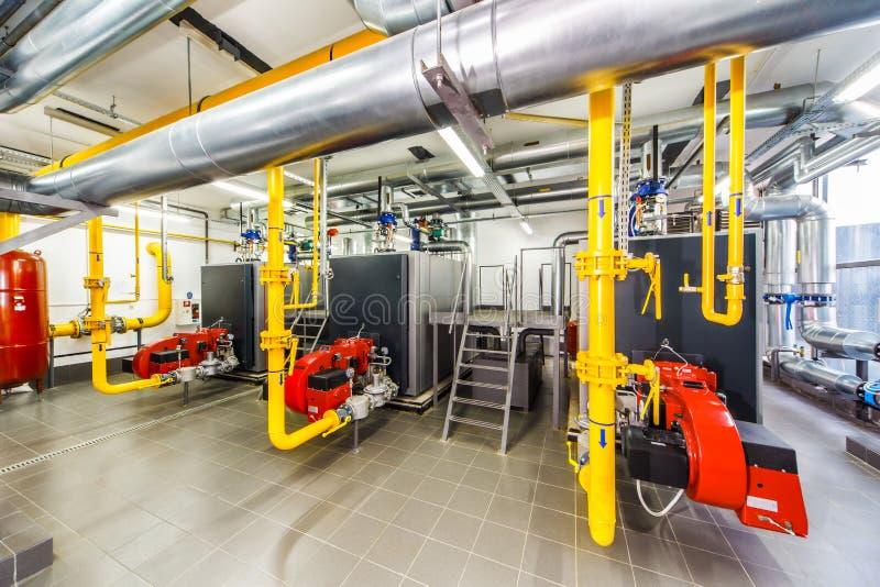 Caldera de gas interior con tres calderas imágenes de archivo libres de regalías