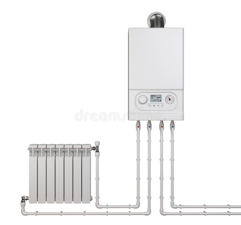 Caldera de gas y radiador del calentador con las tuberías para la casa - vista delantera Sistema de calefacción stock de ilustración