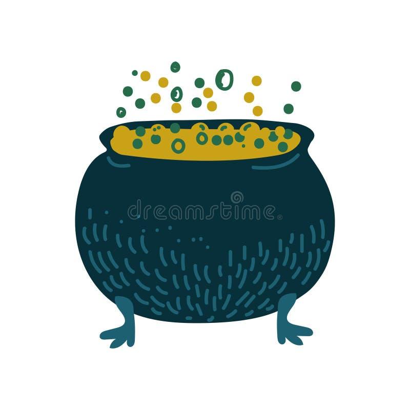 Caldera de la bruja con la poción de ebullición, objeto mágico, ejemplo del vector de la cualidad de la brujería stock de ilustración