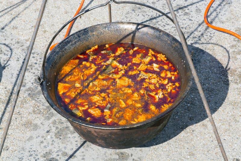 Caldera de la sopa de los pescados imagen de archivo libre de regalías