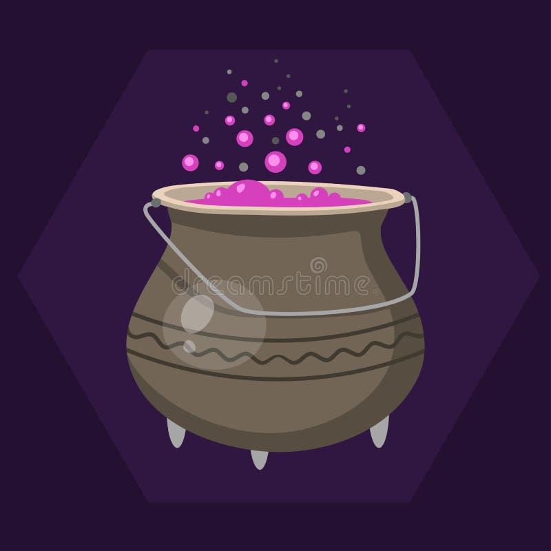 Caldera de las brujas de Halloween de la historieta con el rosa que burbujea cocinando vector mágico de la poción del pote del ar libre illustration
