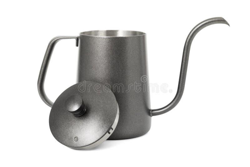 Caldera del caf? aislada en el fondo blanco Caldera de t? con la manija Trayectoria de recortes foto de archivo