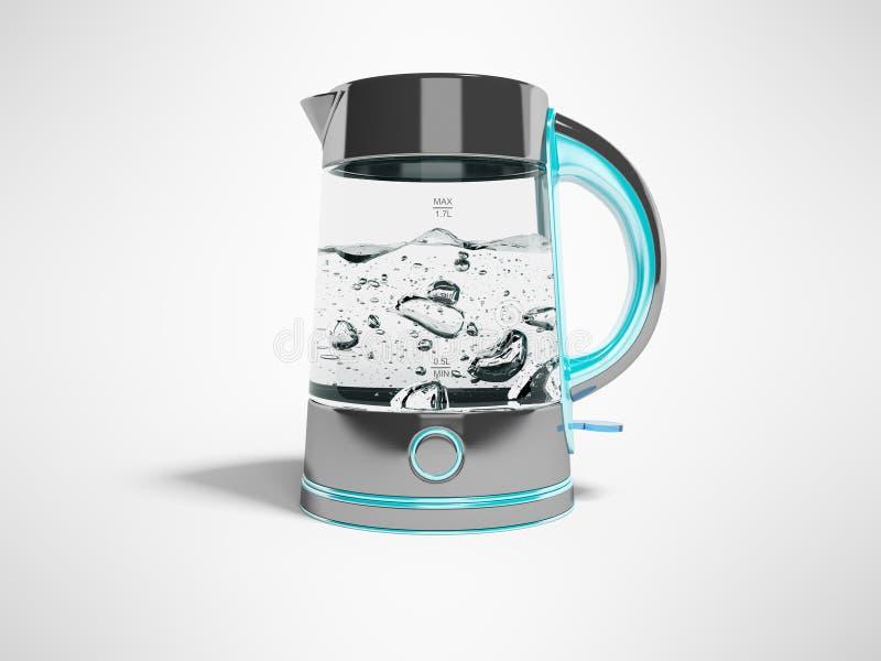 Caldera eléctrica del concepto con el botón en soporte con la vista delantera 3d del agua hirvienda rendir el ejemplo en fondo gr stock de ilustración