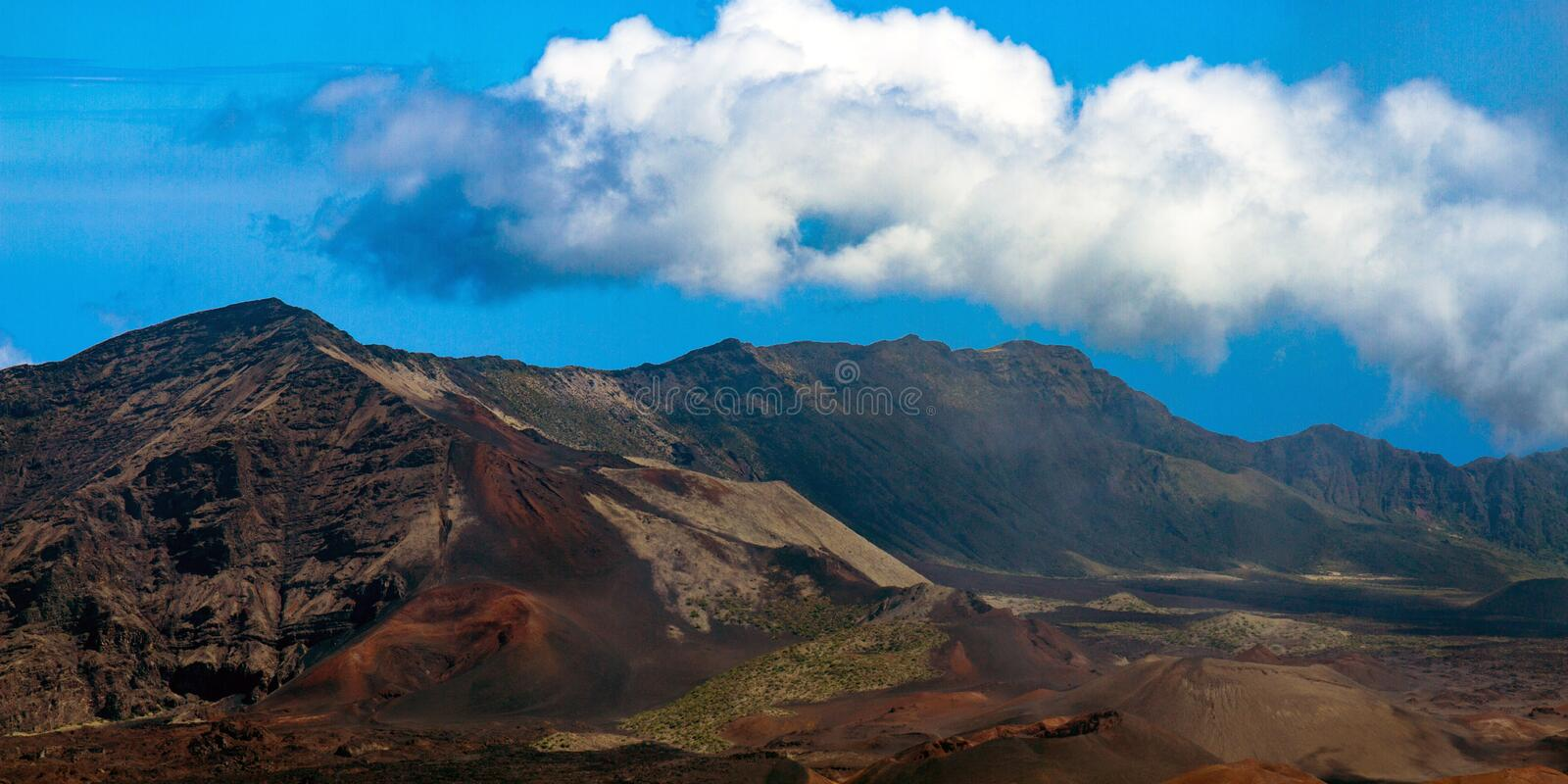 The caldera of Haleakala National Park is a dormant volcano on the island of Maui in Hawaii royalty free stock photography