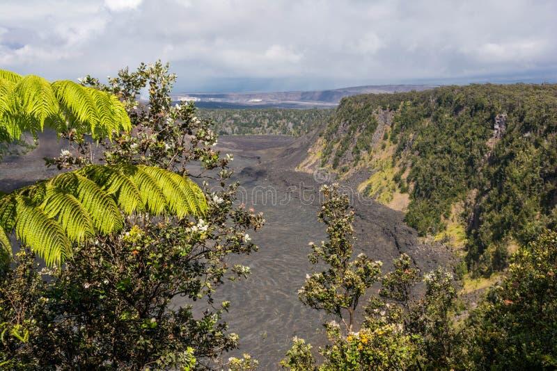 Caldera Kilauea στο μεγάλο νησί, Χαβάη στοκ εικόνες