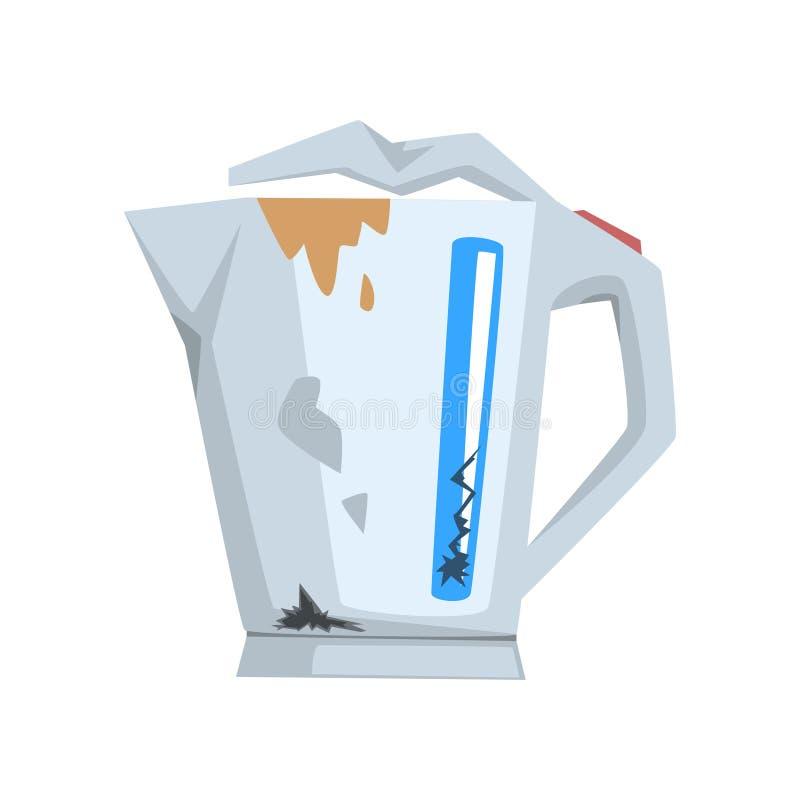 Caldera quebrada, ejemplo dañado del vector de la historieta del aparato electrodoméstico en un fondo blanco ilustración del vector