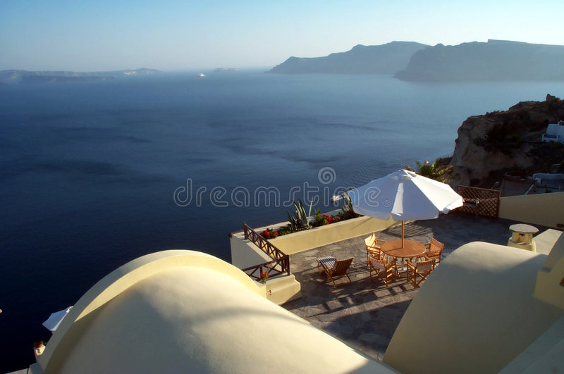 Caldera terrace - Santorini. A terrace over Caldera - Santorini royalty free stock images
