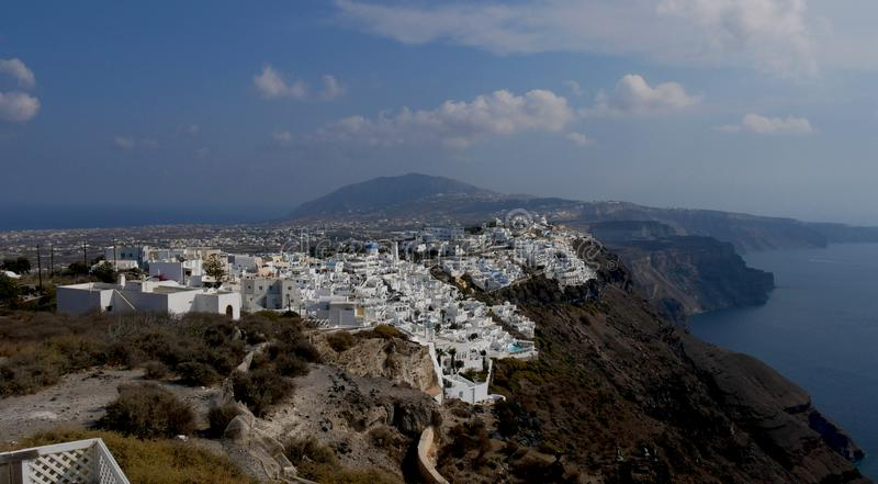 Caldera van het hoofdeiland van Santorini stock foto