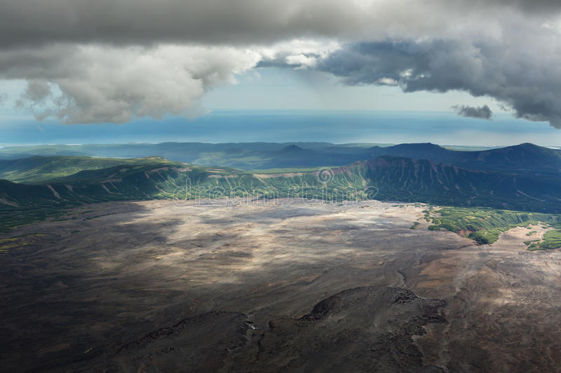 Caldera volcano Maly Semyachik. Kronotsky Nature Reserve on Kamchatka Peninsula. View from helicopter stock photo