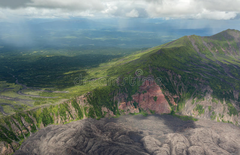Caldera volcano Maly Semyachik. Kronotsky Nature Reserve on Kamchatka Peninsula. View from helicopter royalty free stock images