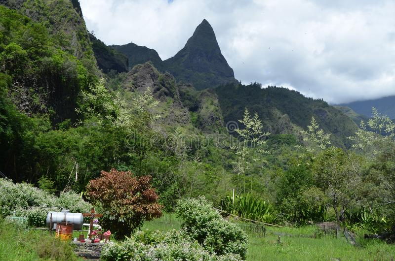Caldera vulcanica di Mafate nell'isola di Réunion fotografie stock libere da diritti