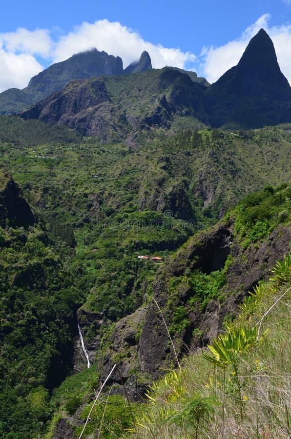 Caldera vulcanica di Mafate nell'isola di Réunion immagine stock libera da diritti
