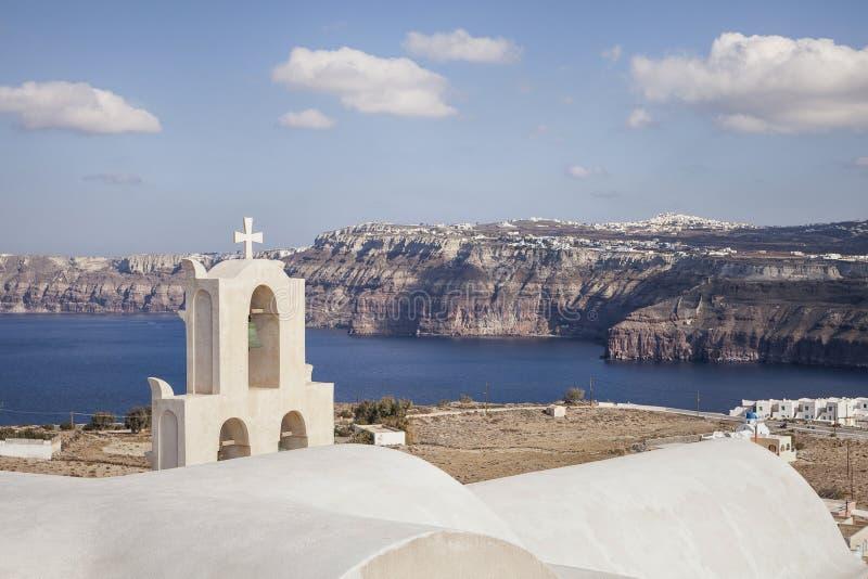 Calderamening van Aktorini-dorp, Santorini Griekenland royalty-vrije stock fotografie