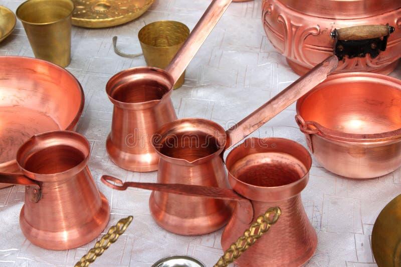 Calderas de cobre fotos de archivo