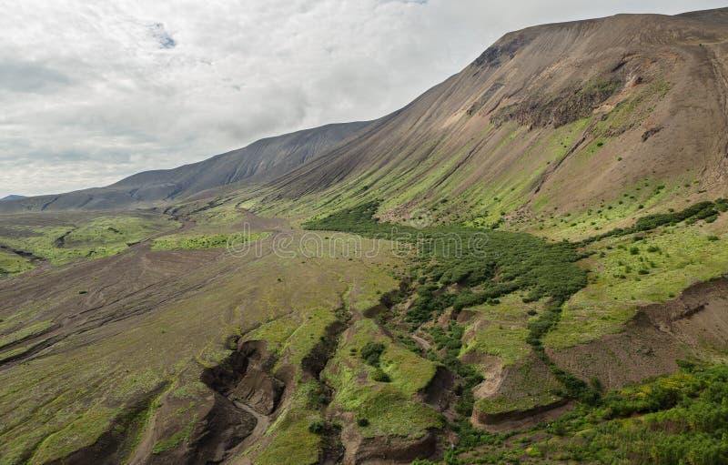 Calderavulkan Ksudach Den södra Kamchatka naturen parkerar arkivfoton
