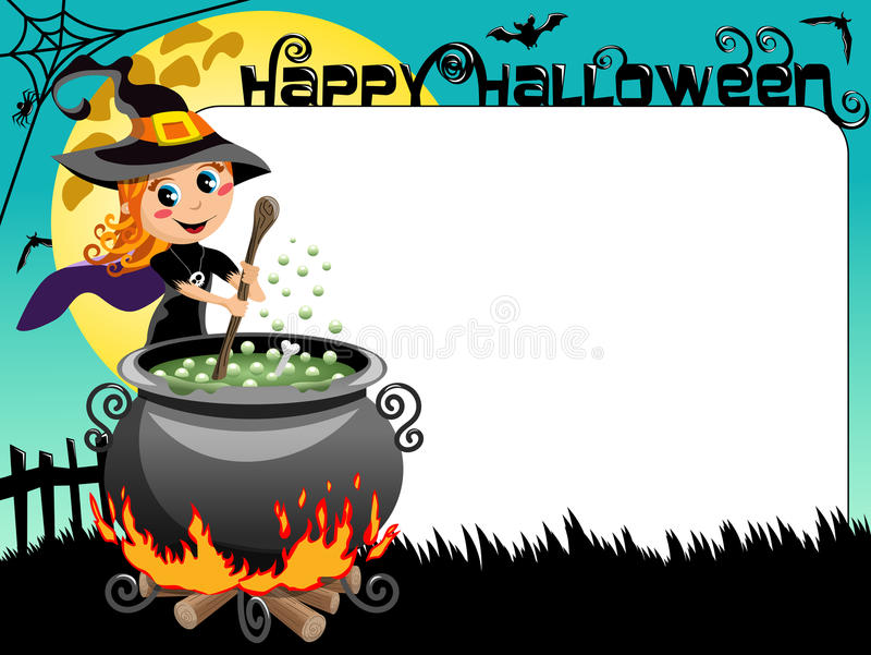 Calderon зелья ведьмы границы картинной рамки фото хеллоуина иллюстрация штока