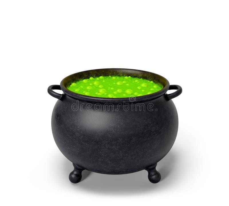 Calderone di Halloween con la pozione verde della bolla illustrazione di stock