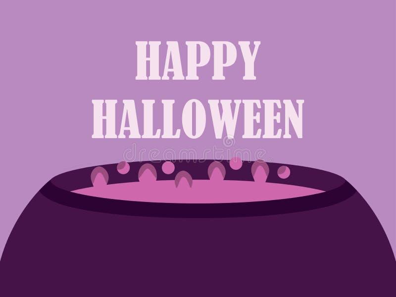 Calderone felice delle streghe di Halloween Punti di ebollizione della pozione magica nel calderone Cartolina d'auguri di festa V royalty illustrazione gratis