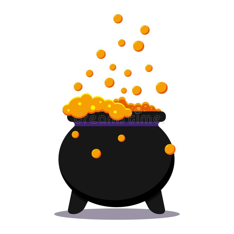 Calderone nero delle streghe di Halloween con la pozione del veleno isolata su fondo bianco illustrazione di stock