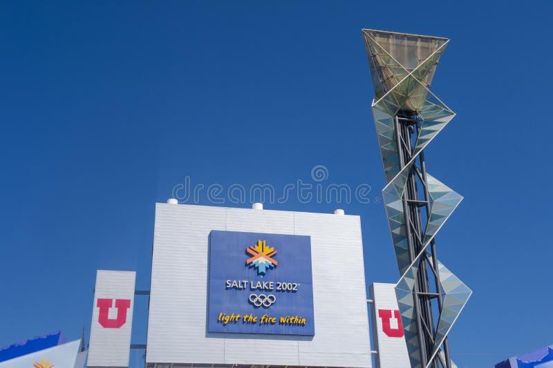 Calderone olimpico di Salt Lake City immagini stock