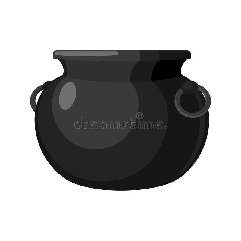 Calderone vuoto POT isolato caldaia del metallo Bowle magico delle streghe illustrazione di stock