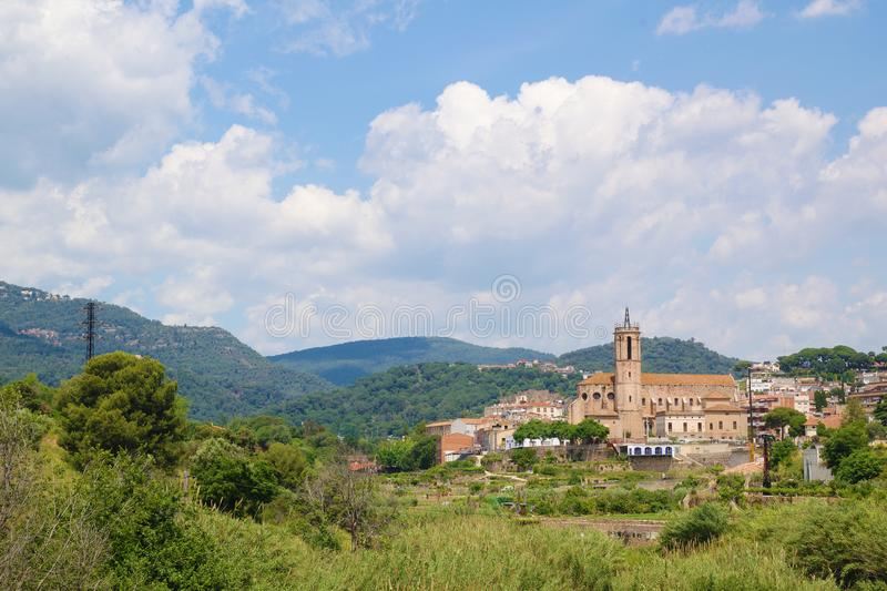 Caldes de Montbui, countryside village next to Barcelona, Catalonia. Romanesque art and thermal destination. Empty copy space royalty free stock photography