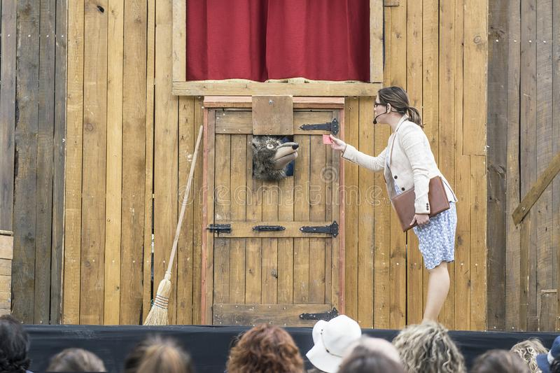 CALDES DE MONTBUI, SPAIN - MAY 18, 2019: Puppets Festival ROMA MARTI on May 18, 2019. And family and child audience stock photo