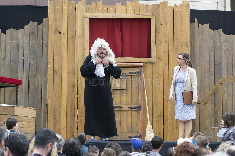 CALDES DE MONTBUI, SPAIN - MAY 18, 2019: Puppets Festival ROMA MARTI on May 18, 2019. And family and child audience stock photos