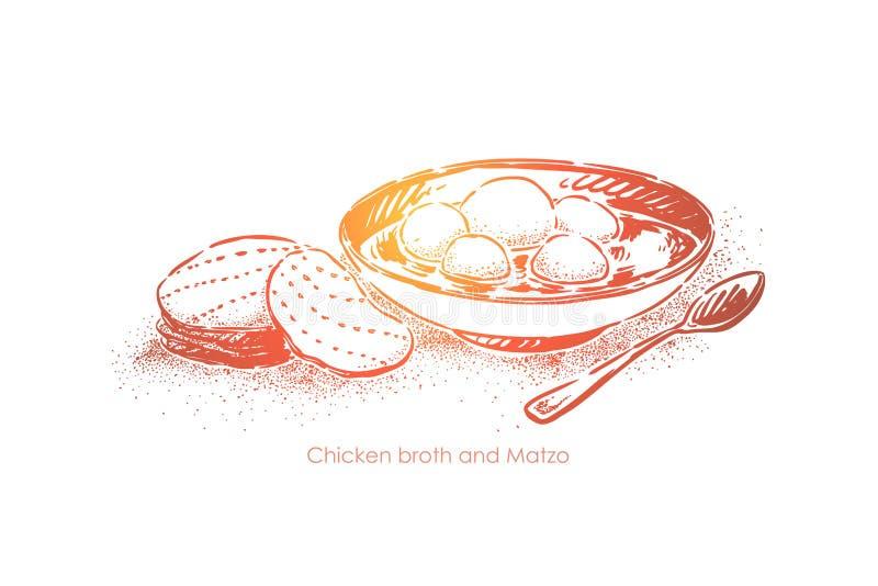 Caldo de pollo con el matzo, cocina judía tradicional, comida hecha en casa, almuerzo kosher, sopa con las bolas del pan ilustración del vector