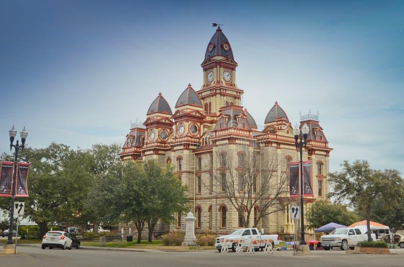 Caldwell County domstolsbyggnad i Lockhart Texas arkivfoton