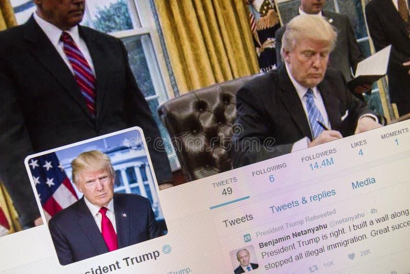 Donald trump on twitter stock image