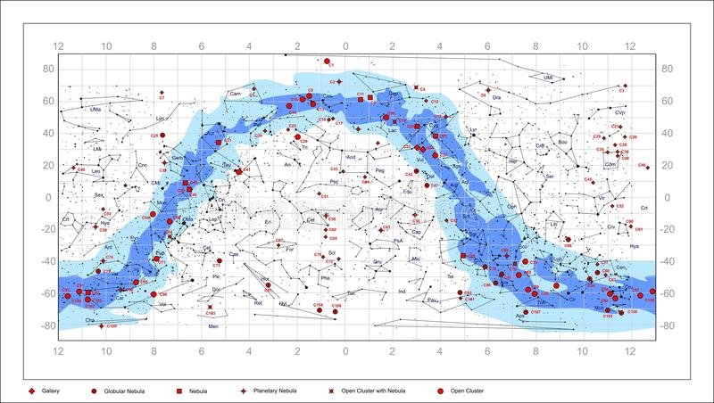 Caldwell Sky Chart - astronomy objects. Caldwell Catalogue deep sky objects. It contains constellations, the names of constellations, nebulae, galaxies, star royalty free illustration