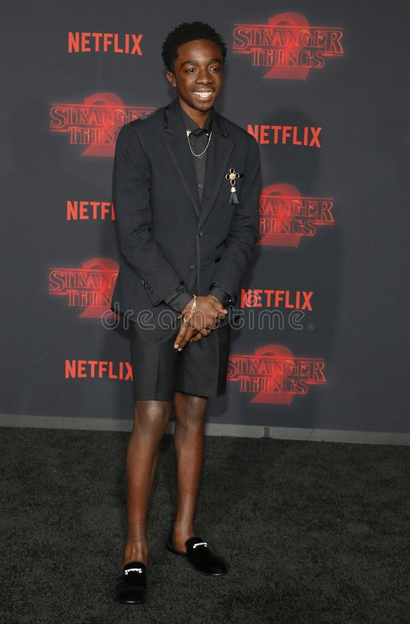 Caleb McLaughlin. At the Netflix`s season 2 premiere of `Stranger Things` held at the Regency Village Theatre in Westwood, USA on October 26, 2017 royalty free stock photos