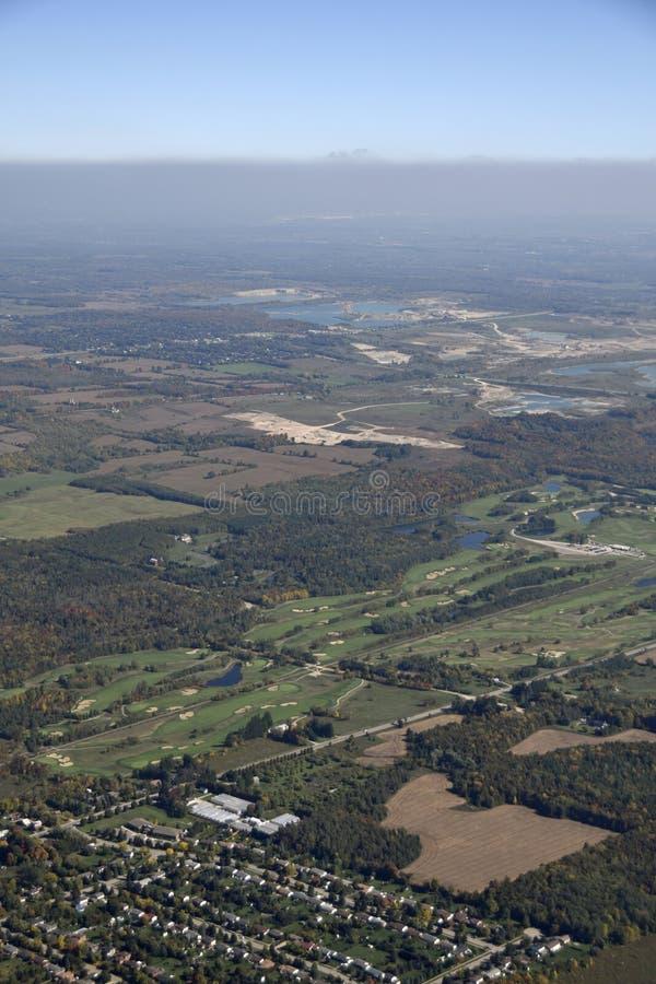 Caledon golf course. Aerial view of the golf course near Caledon Southern Ontario, Canada stock image
