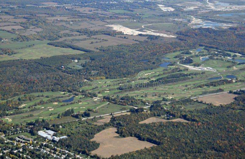 Caledon golf course. Aerial view of the golf course near Caledon Southern Ontario, Canada royalty free stock photos