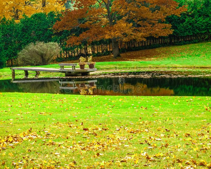 Beautiful fall colors in Caledon, Ontario. Caledon is 1.5 hours north of the city of Toronto in Canada. It has rolling hills and breathtaking landscapes. The royalty free stock image
