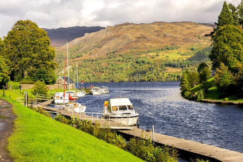 Caledonian Canal entry to Loch Ness at Fort Augustus, Scotland royalty free stock photography