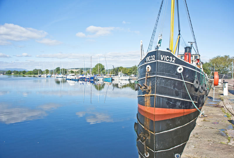 Caledonische Kanaal en Muirtown Jachthaven Inverness. stock foto's