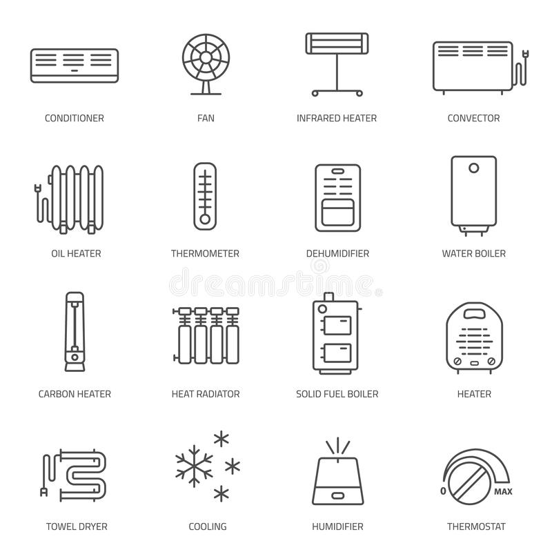 Calefacción, ventilación e iconos de condicionamiento fijados libre illustration