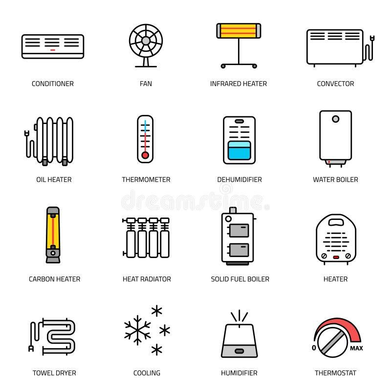 Calefacción, ventilación e iconos de condicionamiento fijados stock de ilustración