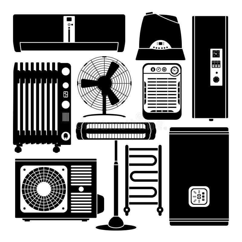 Calefacción, ventilación y sistema de condicionamiento de los iconos de la silueta stock de ilustración