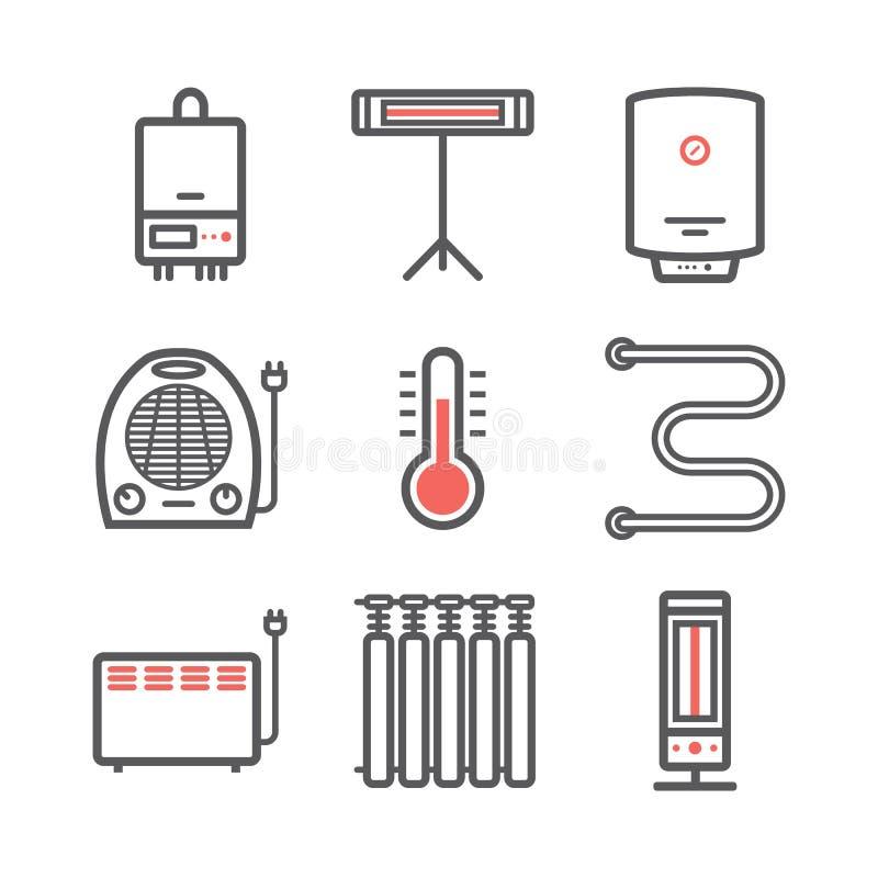 Calefacción y línea de enfriamiento iconos Ventilación y ejemplo de condicionamiento del vector libre illustration