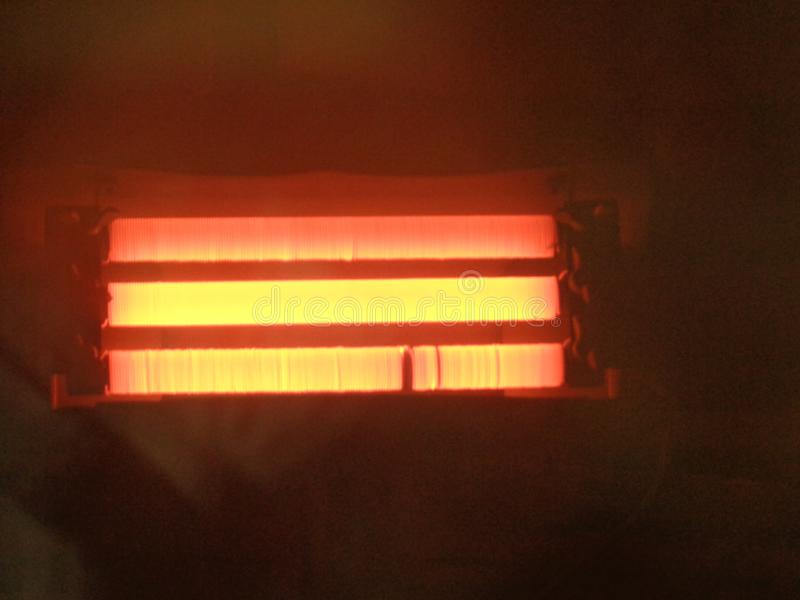 Calefator, bobina do calefator, queimadura, três calefator, máquina, quente imagens de stock
